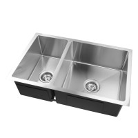 710x450x205mm 1.2mm Handmade Round Corners Double Bowls Top / Undermount / Flush Mount Kitchen Sink