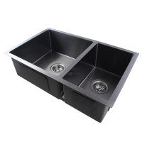 710x450x205mm 1.2mm Dark Grey Stainless Steel Handmade Double Bowls Top/Undermount Kitchen Sink