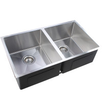 770x450x215mm 1.2mm Handmade Double Bowls Top/Undermount Kitchen/Laundry Sink
