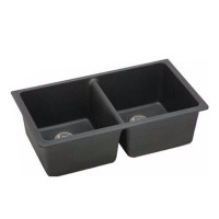 838x476x241mm Black Kitchen Sink Granite Stone Under Mount Double Bowls
