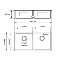 865x440x200mm 1.2mm Handmade Double Bowls Square Corners Top/Undermount Kitchen Sink