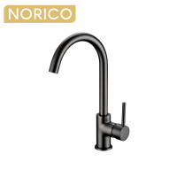 Norico Round Gunmetal Grey Kitchen Sink Mixer Tap 360° Swivel
