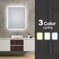 600x750mm Curved Rim Rectangle 3 Color Lighting LED Mirror Touch Sensor Switch Defogger Pad Wall Mounted Vertical or Horizontal