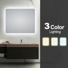 900x750mm Curved Rim Rectangle 3 Color Lighting LED Mirror Touch Sensor Switch Defogger Pad Wall Mounted Vertical or Horizontal