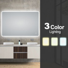 1200x800mm Curved Rim Rectangle 3 Color Lighting LED Mirror Touch Sensor Switch Defogger Pad Wall Mounted Vertical or Horizontal