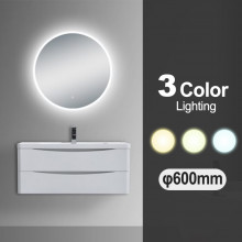 600mm Round 3 Color Lighting LED Mirror Touch Sensor Switch Defogger Pad Wall Mounted Acrylic Mirror