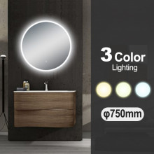 750mm Round 3 Color Lighting LED Mirror Touch Sensor Switch Defogger Pad Wall Mounted Acrylic Mirror