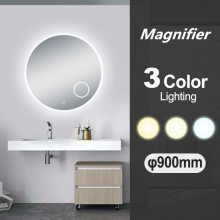 900mm Round 3 Color Lighting LED Mirror with Magnifying Mirror Touch Sensor Switch Defogger Pad Wall Mounted