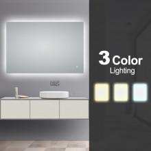 1200x800mm Rectangle 3 Color Lighting LED Mirror Touch Sensor Switch Defogger Pad Wall Mounted Vertical or Horizontal