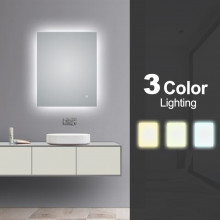 600x750mm Rectangle 3 Color Lighting LED Mirror Touch Sensor Switch Defogger Pad Wall Mounted Vertical or Horizontal