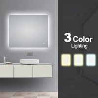 900x750mm Rectangle 3 Color Lighting LED Mirror Touch Sensor Switch Defogger Pad Wall Mounted Vertical or Horizontal