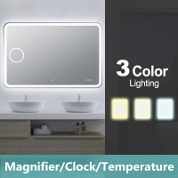 1200x800mm Curved Rim Rectangle 3 Color Lighting LED Mirror Magnifier Touch Sensor Switch Defogger Pad Wall Mounted Digital Clock with Temperature
