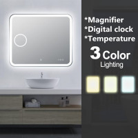 900x750mm Curved Rim Rectangle 3 Color Lighting LED Mirror Magnifier Touch Sensor Switch Defogger Pad Wall Mounted Digital Clock with Temperature
