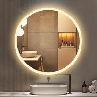 750mm Round LED Mirror 3 Color Lighting Touch Sensor Switch Defogger Pad Wall Mounted Acrylic Mirror White Frame