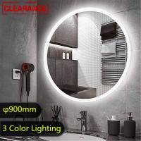 900mm Round LED Mirror 3 Color Lighting Touch Sensor Switch Defogger Pad Wall Mounted Acrylic Mirror White Frame
