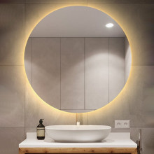 750mm Round Plain LED Mirror 3 Color Lighting Touch Sensor Switch Defogger Pad Wall Mounted Acrylic Mirror Back Lighting