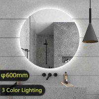 600mm Round Plain LED Mirror 3 Color Lighting Touch Sensor Switch Defogger Pad Wall Mounted Acrylic Mirror Back Lighting
