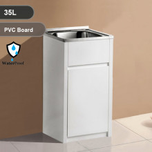 35L Freestanding Laundry Tub in PVC Waterproof Cabinet with Stainless Steel Sink