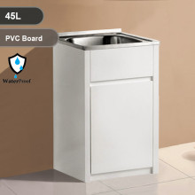 45L Freestanding Laundry Tub in PVC Waterproof Cabinet with Stainless Steel Sink