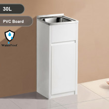 30L Freestanding Laundry Tub in PVC Waterproof Cabinet with Stainless Steel Sink