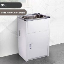 35L Stainless Steel Sink Laundry Tub with Side Hole Color Bond Cabinet