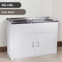 Double 45L Stainless Steel Bowls Laundry Tub with Colorbond Cabinet