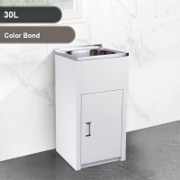 30L Stainless Steel Sink Compact Laundry Tub with Color Bond Cabinet