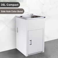35L Compact Stainless Steel Sink Laundry Tub with Side Hole Color Bond Cabinet