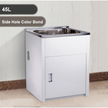 45L Stainless Steel Sink Laundry Tub with Side Hole Color Bond Cabinet