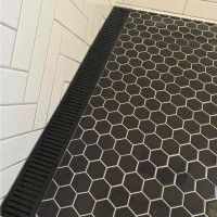 300-3900mm Lauxes Aluminium Midnight Black Wide Standard Shower Grate Drain Any Size Indoor Only