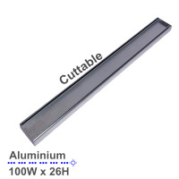 300-3900mm Lauxes Shower Grate Drain Aluminium Slimline Tile Insert Indoor Outdoor Silver Surface