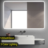 1200x800mm Curved Rim Rectangle 3 Color Lighting LED Mirror Touch Sensor Switch Acrylic Side Light Wall Mounted Vertical or Horizontal
