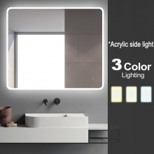 900x750mm Curved Rim Rectangle 3 Color Lighting LED Mirror Touch Sensor Switch Acrylic Side Light Wall Mounted Vertical or Horizontal