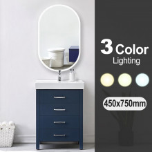 450x750mm Oval 3 Color Lighting LED Mirror Touch Sensor Switch Defogger Pad Wall Mounted Acrylic Mirror
