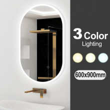 600x900mm Oval 3 Color Lighting LED Mirror Touch Sensor Switch Defogger Pad Wall Mounted Acrylic Mirror