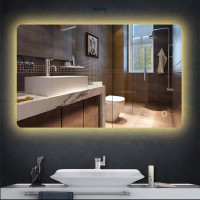 750/900/1200mm Rectangle LED Mirror Backlit Touch Switch 3 Colours Lighting Frameless PC Back Lampshade