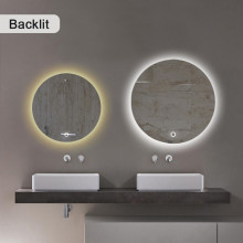 600/800mm Round LED Mirror Backlit Touch Switch 3 Colours Lighting Frameless