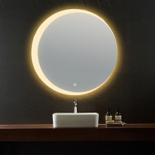 600/800mm Round LED Wall Mirror Touch Switch 3 Colours Lighting on Crescent Rim