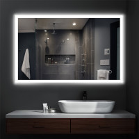750/900/1200mm Rectangle LED Mirror Right-angle Touch Switch 3 Colours Lighting on Rim Frameless