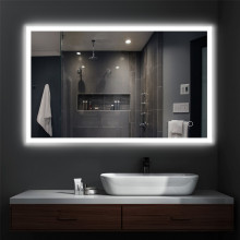 MACHO 750/900/1200mm Rectangle LED Mirror Right-angle Touch Switch 3 Colours Lighting on Rim Frameless