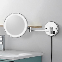 200mm Round LED Makeup Mirror Dual Arm Extend 3x Magnifying Bathroom Wall Mount Folding
