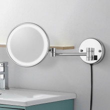 MACHO 200mm Round LED Makeup Mirror Dual Arm Extend 3x Magnifying Bathroom Wall Mount Folding