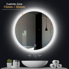 MACHO 600mm Round LED Wall Mirror Touch Switch 3 Colours Lighting on Rim