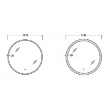 800mm Round LED Wall Mirror Touch Switch 3 Colours Lighting on 20mm or 40mm Rim