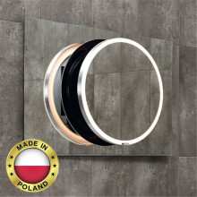 1200x700mm DOT LED Mirror Rectangle Inner Round Bathroom Black Mechanism Frame Pull out Wall Mounted