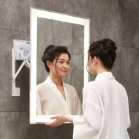 600/800mm LED Mirror Rectangle Square Bathroom White Mechanism Frame Pull out Wall Mounted Vertical or Horizontal