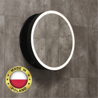 700mm MOON LED Mirror Round Bathroom Black Base and Mechanism Frame Pull out Wall Mounted