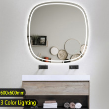 600x600mm Rounded Edge Acrylic LED Mirror 3 Color Lighting Touch Sensor Switch Wall Mounted White Frame