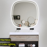 750x750mm Rounded Edge Acrylic LED Mirror 3 Color Lighting Touch Sensor Switch Wall Mounted White Frame