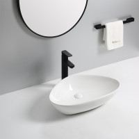 590x390x130mm Triangle Gloss White Bathroom Above Counter Wash Ceramic Basin